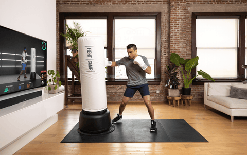 Man doing a boxing Tabata at-home workout