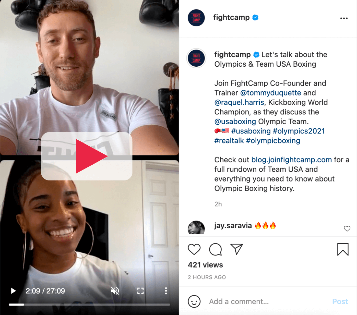 Tommy Duquette and Raquel Harris Team USA Boxing Instagram Live