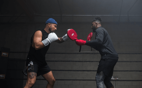 Boxing Mitt Work with a Boxer and Coach