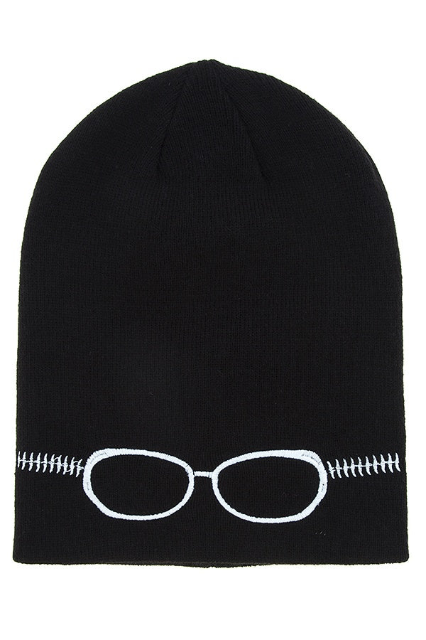 Embroidered Glasses Beanie