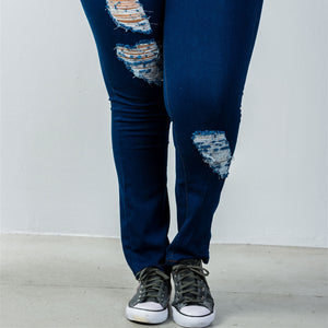 🔥Sexy Low Rise Dark Blue Distressed Jeans Plus🔥