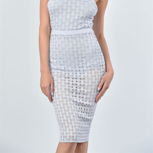 Mesh Hole Bodysuit and Midi Skirt Set