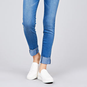 Waist drawstring roll cuff detail washed denim jogger skinny pants