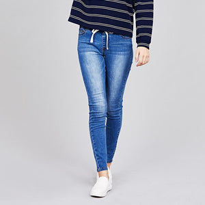 Drawstring Denim Skinny  Jogger