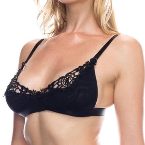 Embroidered lace overlayed shelf bralette BLACK