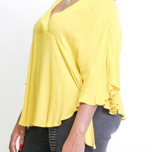Solid, Loose Fit Top With 3/4 Bat Sleeves, Ruffle Trim, Wrap V Neckline, Tie Sides And Round Hemline