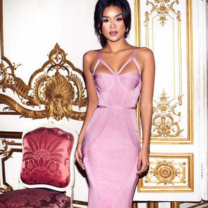 Pink Bandage Evening Dress
