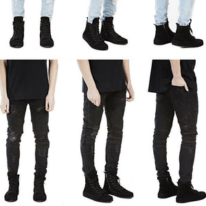 Distressed Slim Fit Biker Jeans