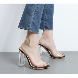 Clear Sandal Block Heel