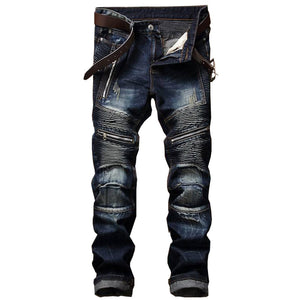 Slim Fit Rugged Biker Jeans
