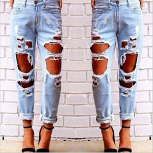 Women's Destroyed Low Waist Ripped Distressed Jeans