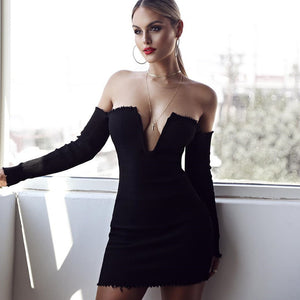 Off Shoulder Plunging Neckline