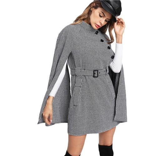 Vintage Black and White Cloak Sleeve Houndstooth Cape Coat
