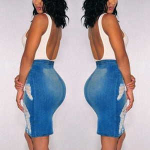 Stretch Bodycon +High Waist +Denim Mini Skirt=Amazing
