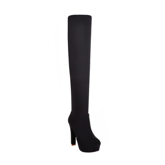 New Women Boots Sexy Fashion Over the Knee Square Heel w/Platform