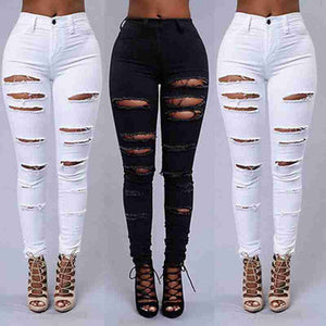 Shredded Skinny High Waist Jeans