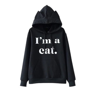 Women Front Pocket Cat Ear Hoodie Sweatshirt