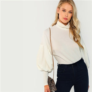 White Mock Neck Top