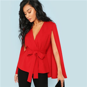 Red Deep V Neck Blazer