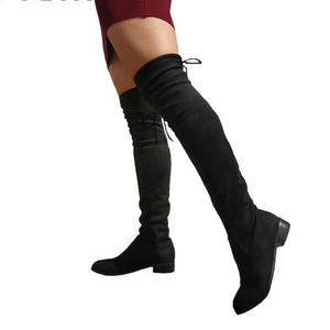 Over The Knee Boots Square Heel  Lace Up Stretch Fabric Boots