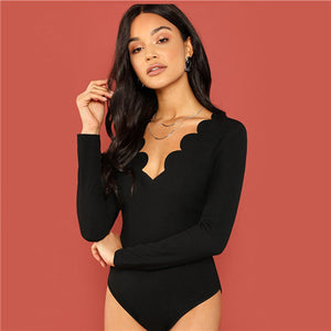Casual Black  Bodysuit w/Scallop Trim