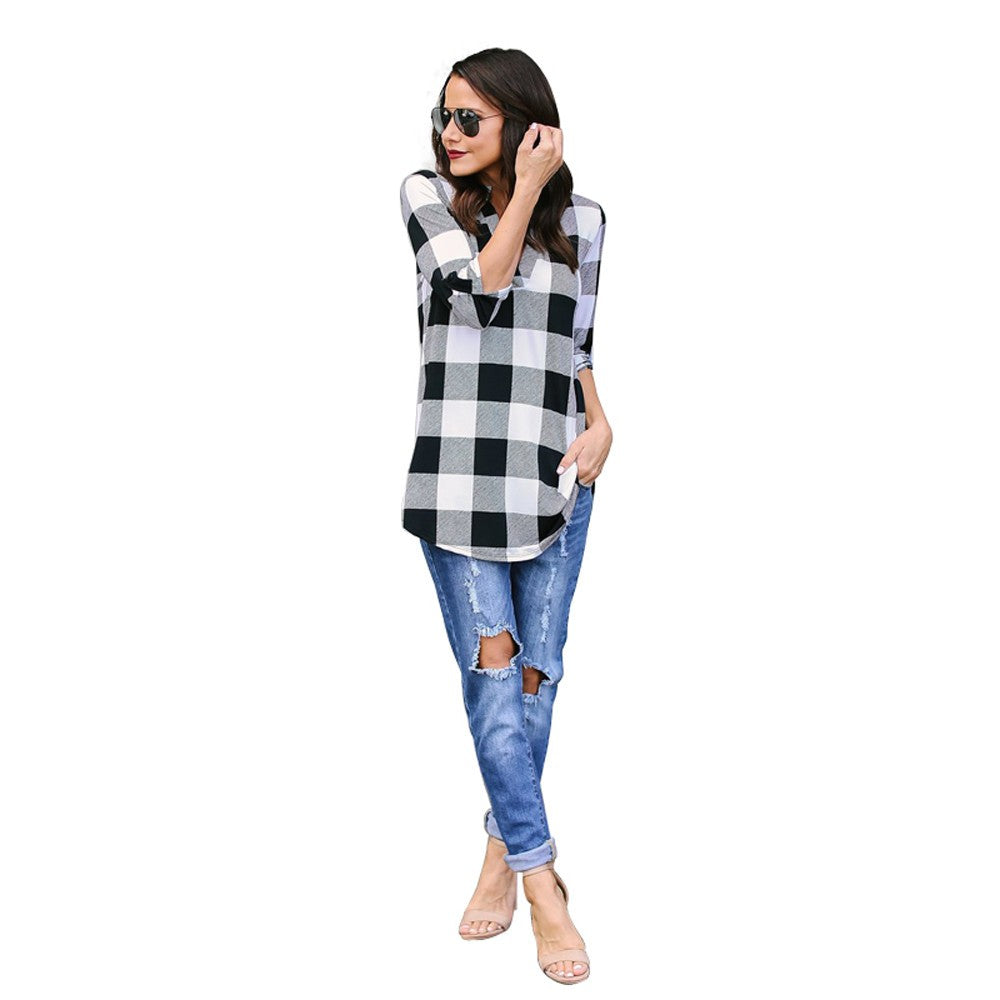 Women Spring 3/4 Sleeve Plaid V Neck Office Work Blouse Tops T-Shirts