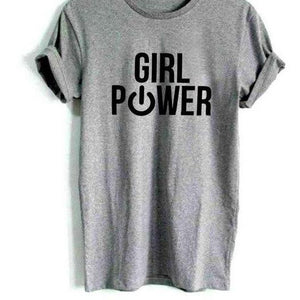 Girl Power 'On'  tshirt Casual Cotton Hipster Funny t shirt For Girl Lady Top Drop Ship BA-276