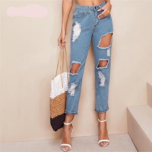 Blue Destroyed Crop Jeans