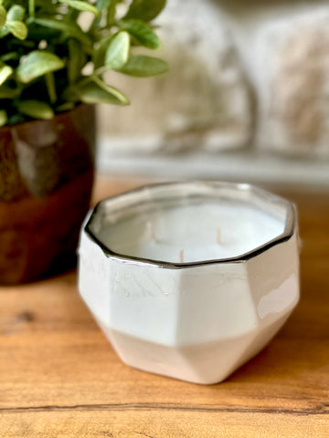 Stylish Ceramic Container Candle |  Three wicks