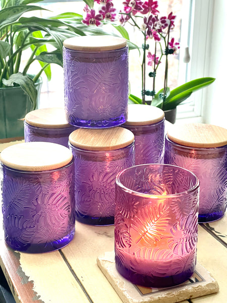 Monsterra Leaf Glass Candles | 10 oz | Choose your scent