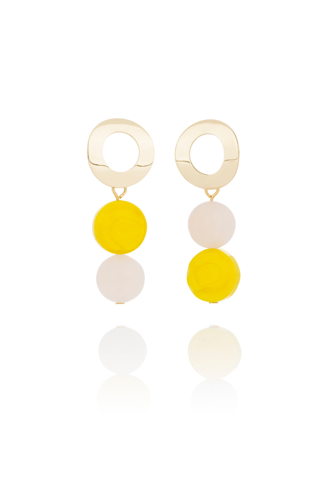 Rose Quartz and Yellow Earrings