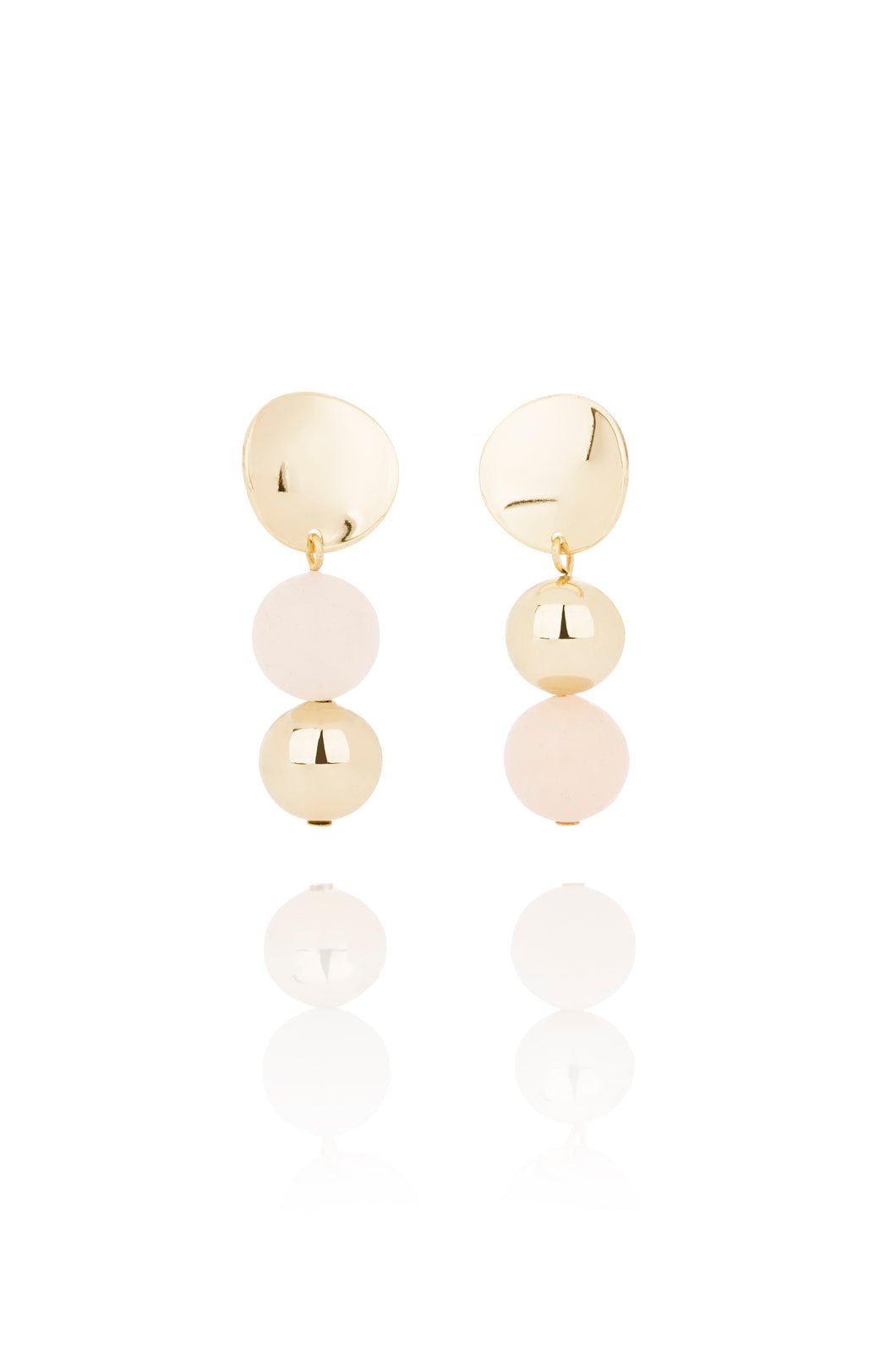 Rose Quartz and Gold Earrings