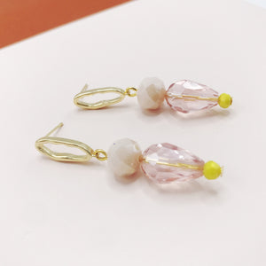 Oval Loop Earrings Pink