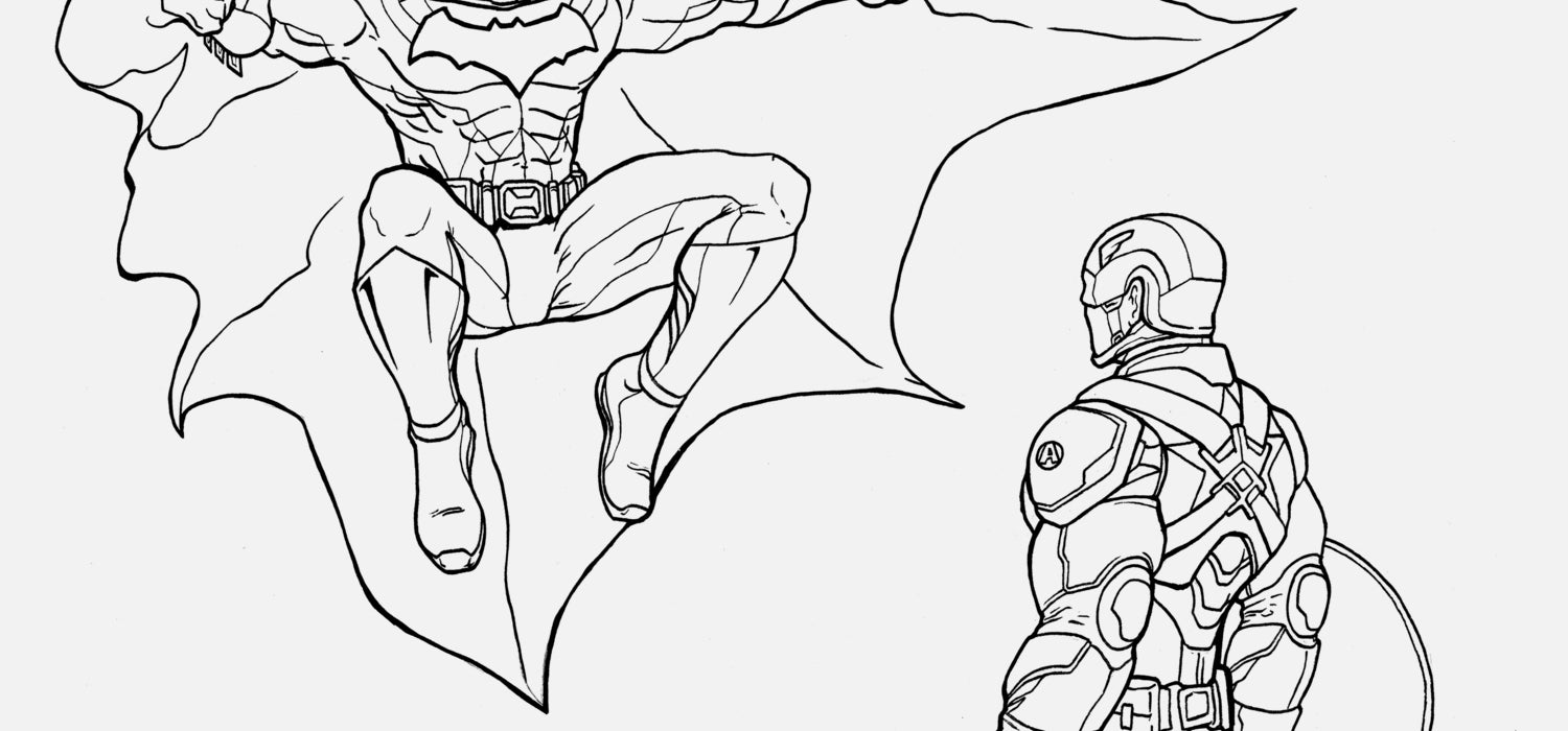 Batman vs. Captain America | Free Coloring Page