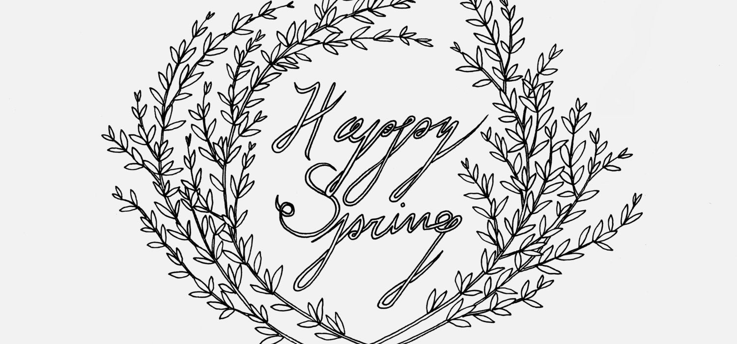 Happy Spring | Free Coloring Page