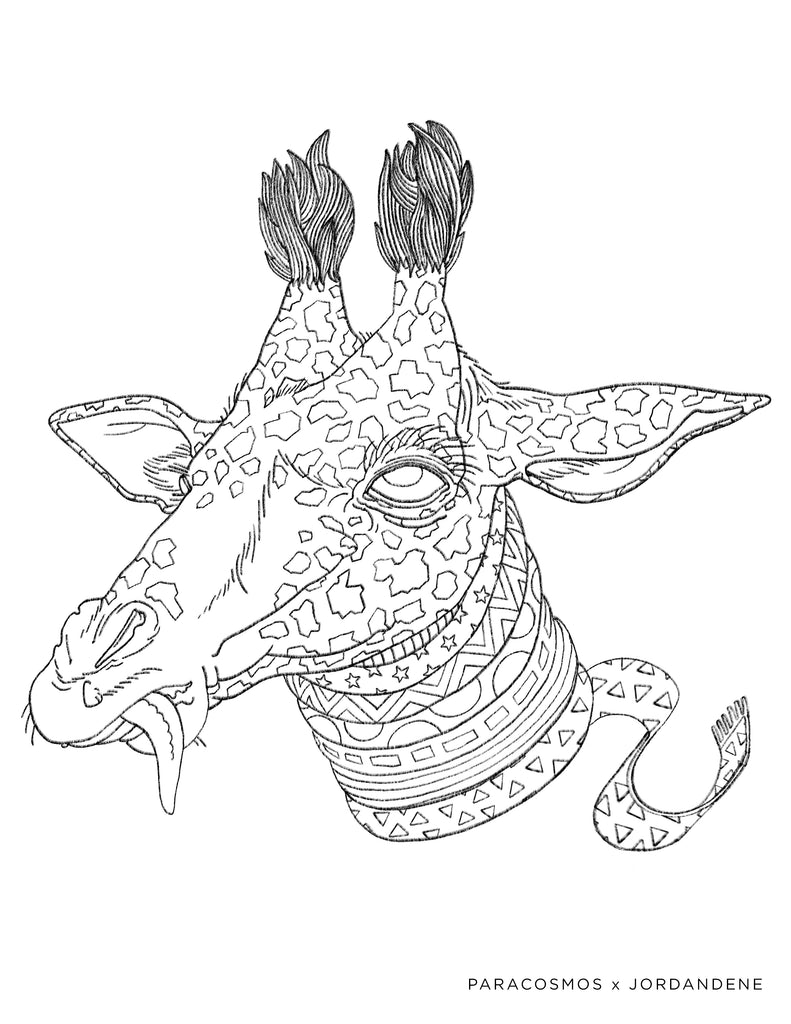 Space Giraffe Coloring Page