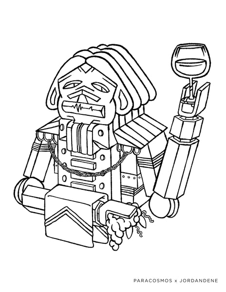 Fancy Robot Coloring Page