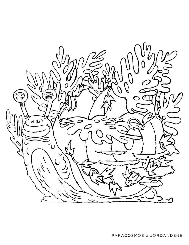 Leafy Space Snail | Free Coloring Page