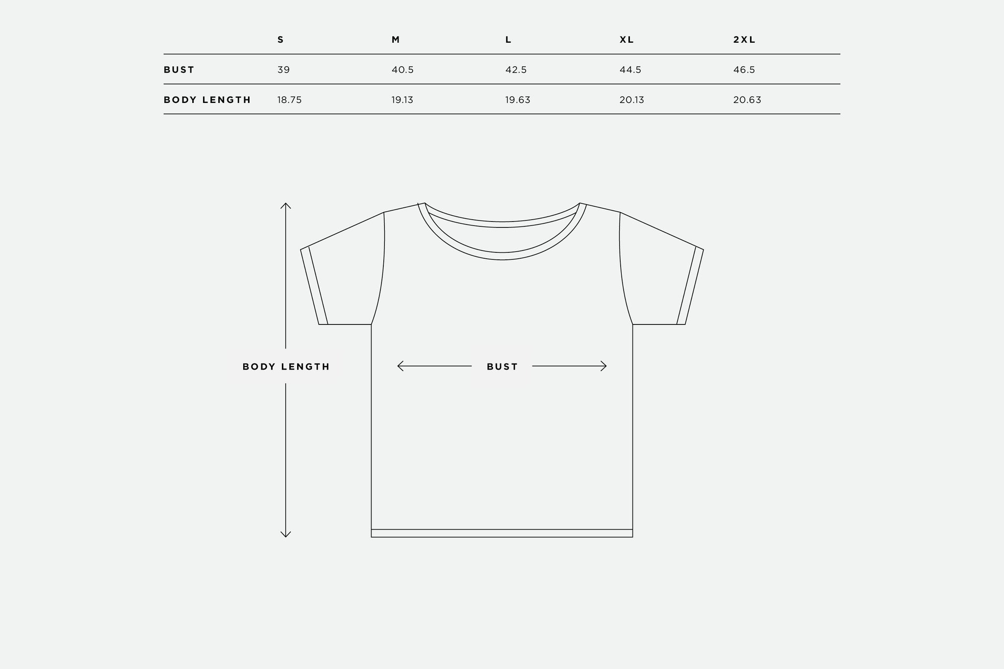 Women's Scoop Neck Sizing Chart