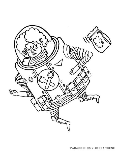 Popping Space Man Free Coloring Page