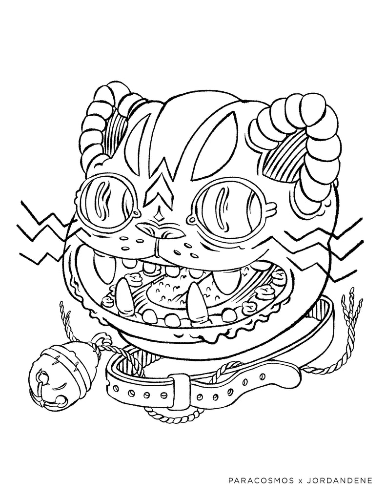 Space Cat Free Coloring Page