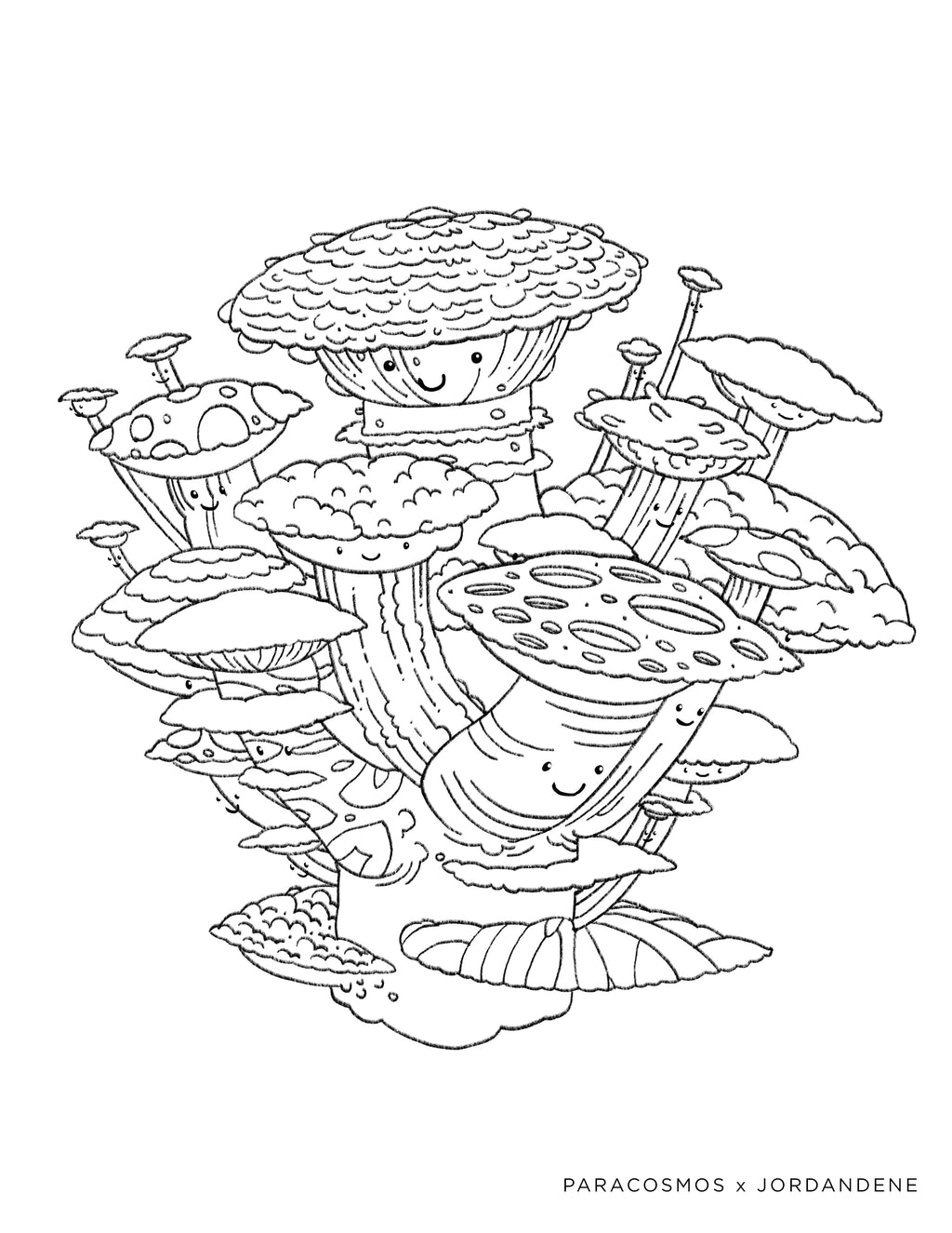 Space Shrooms Free Coloring Page