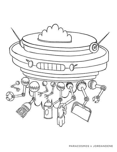 Space Roomba Free Coloring Page