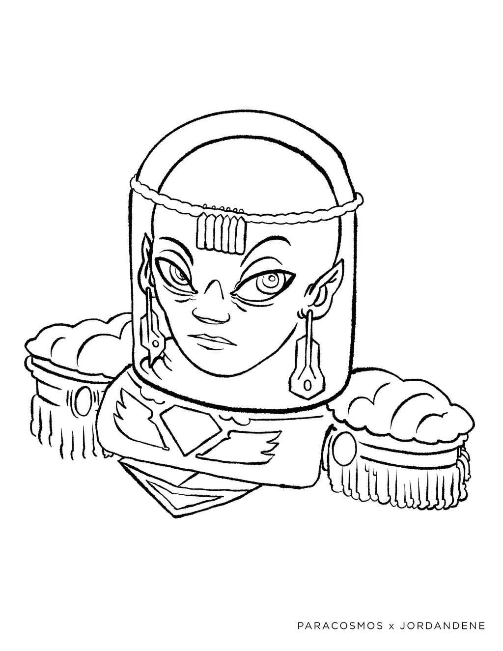 Space Queen Free Coloring Page