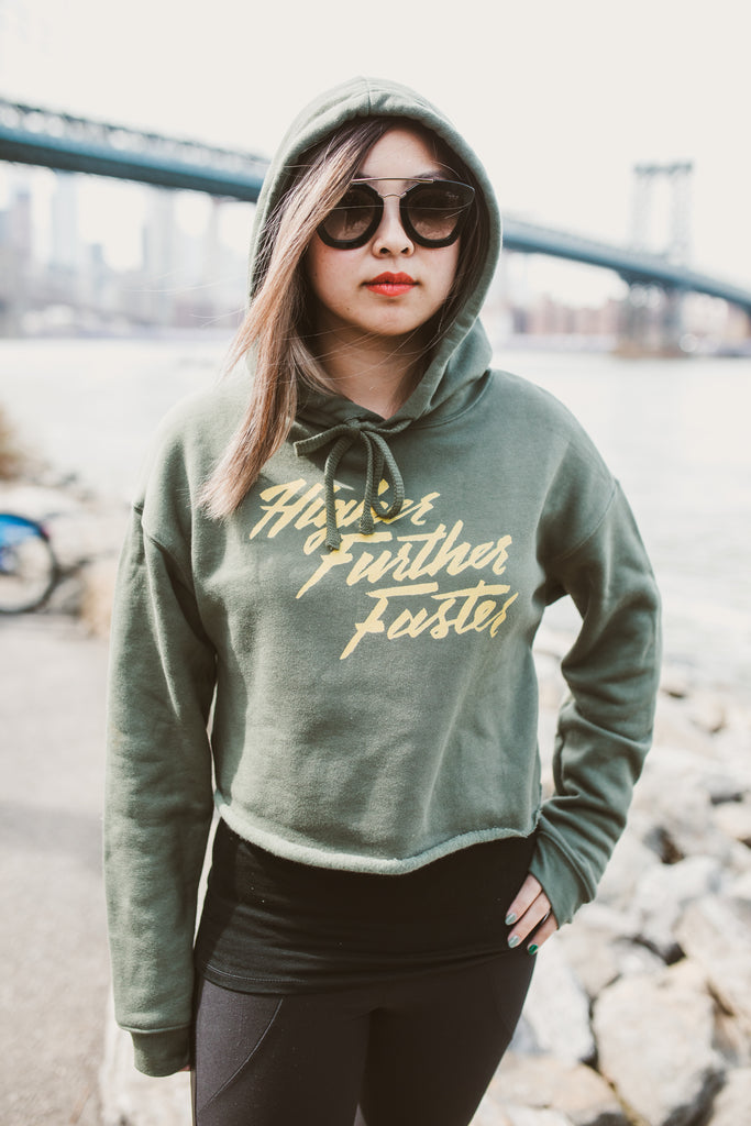 Higher Further Faster Crop Hoodie