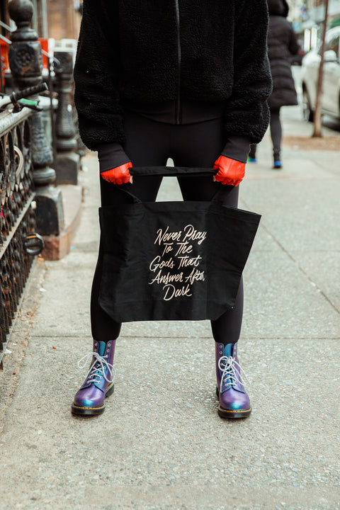 Never Pray to the Gods that Answer After Dark Large Eco Tote | The Invisible Life of Addie LaRue