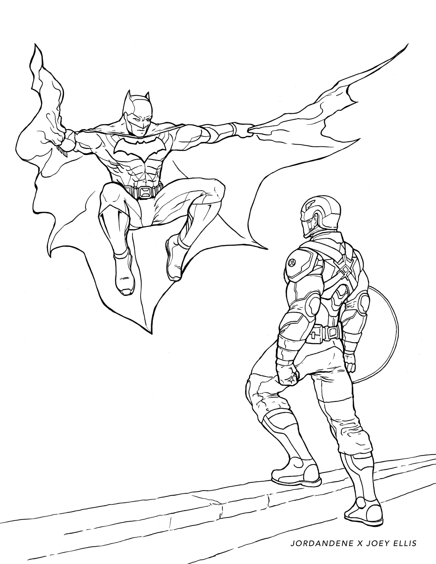 Batman vs. Captain America Free Coloring Page – jordandene