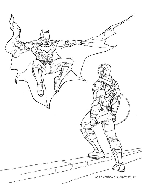 Batman vs. Captain America Free Coloring Page