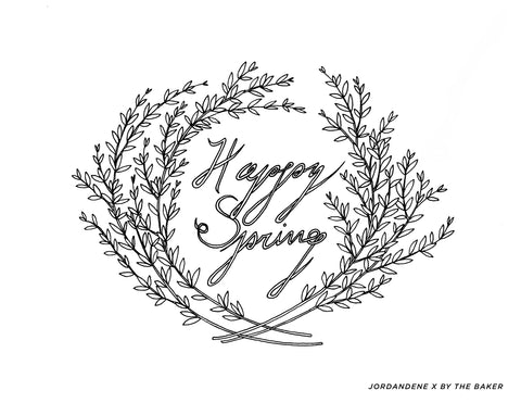 Happy Spring Free Coloring Page