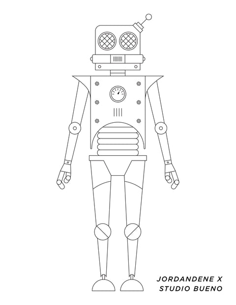 Little Robot Free Coloring Page | Studio Bueno